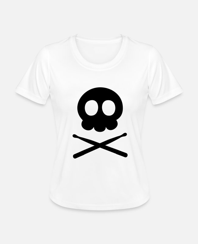 Drummer T-Shirts - Pirate Skull Head Sticks - Women's Functional T-Shirt white