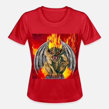 gargoyl mit flammen/gargoyl with flames - Frauen Funktions-T-Shirt