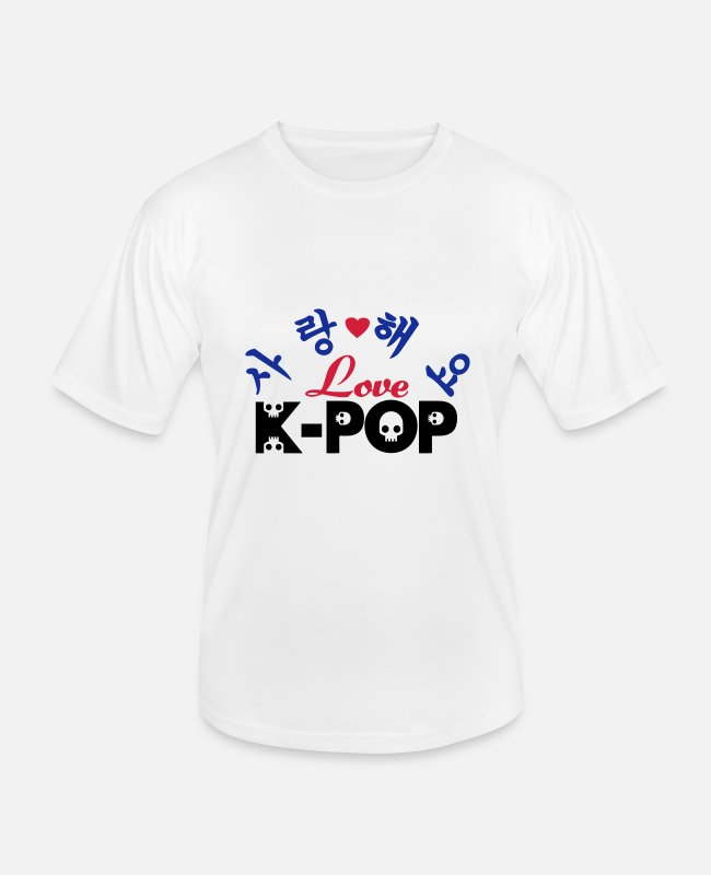 I Love-K-pop-bands-Big-bang-PSY-DBSK-TVXQ-JYJ-SHinee-SUJU-SuperJunior-B2St-Beast-U-Kiss-2PM-BTOB-PSY T-Shirts - ♥♫I Love Kpop- SaRangHaeYo K-Pop♪♥ - Men's Functional T-Shirt white