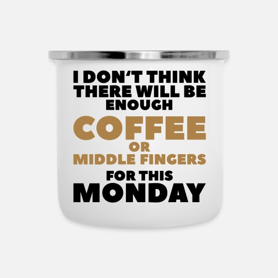 Funny Quotes Mokken & toebehoor - Funny Coffee Quotes> Enough middelvingers - Emaille mok wit