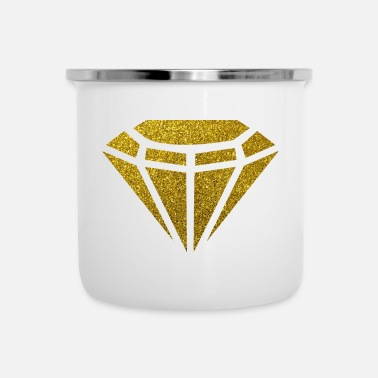 Gold Golden Diamond - Goldener Diamant Glitzer Gold - Emaille-Tasse