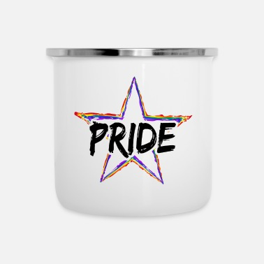 Strip LGBT Gay Pride Star Stern Schwul Queer CSD - Emaille-Tasse