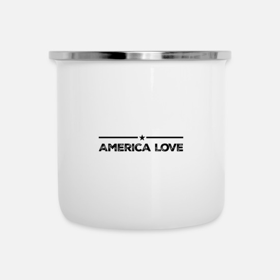 Patriot Mugs & Drinkware - America love patriotism home - Enamel Mug white