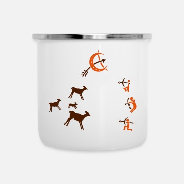 Cave Cave, Cave Painting, Hunter, Survival - Enamel Mug