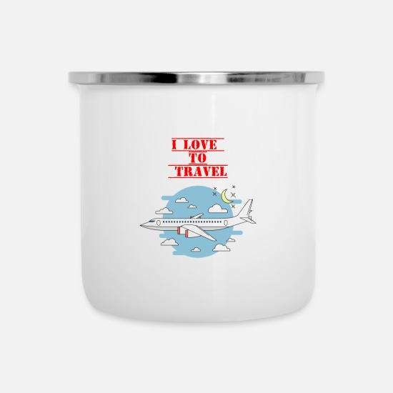Travel Mugs & Drinkware - I Love To Travel - Enamel Mug white