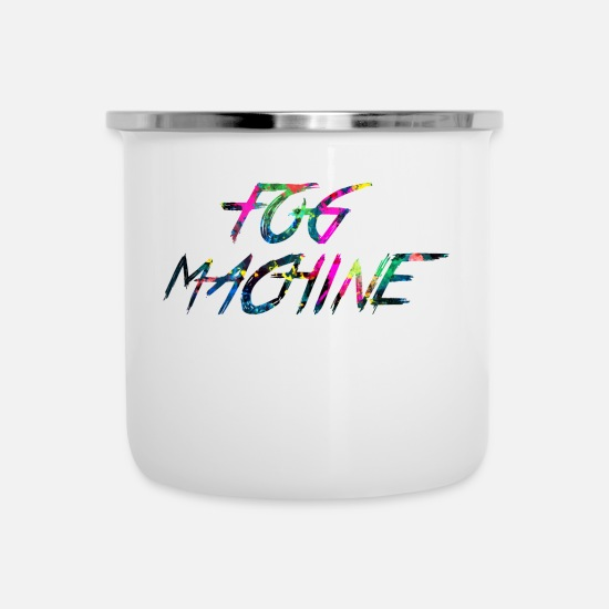 Vape Mugs & Drinkware - rainbow FOG MACHINE - Enamel Mug white