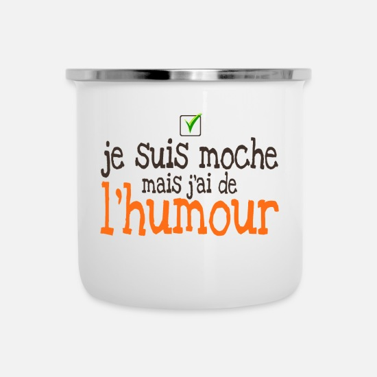 Quote Mugs & Drinkware - quote ugly humor check ok ok funny expression - Enamel Mug white