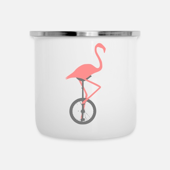Pink Mugs & Drinkware - Flamingo on unicycle - Enamel Mug white