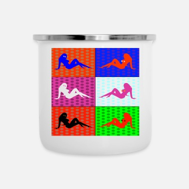 Funky Pop Art Women Silhouette Colorful Funky Gift - Emaljmugg