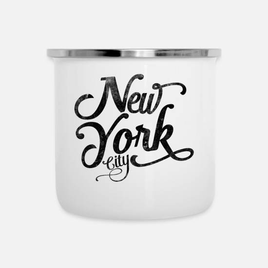York Tassen & Becher - New York City Typografie - Emaille-Tasse Weiß
