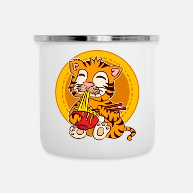 Sun Ramen Life Motivational Tiger Motiv Shirt Ramen Noodle - Enamel Mug