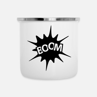 Explosion BOOM Explosion Comic Black White - Emaille mok