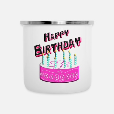 Happy Birthday Happy Birthday Cake Pink - Emaille mok