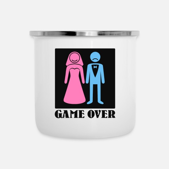 Rant Mugs & Drinkware - Game Over Wedding Marriage Marriage Bachelor Party - Enamel Mug white