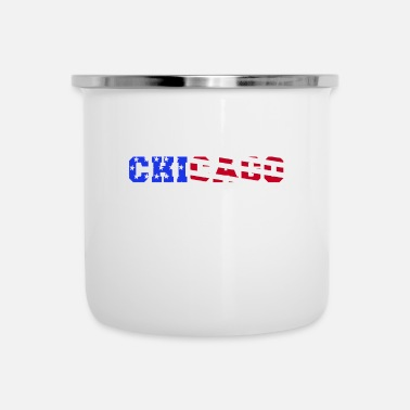 Chicago CHICAGO flag pattern America idea de regalo - Taza esmaltada