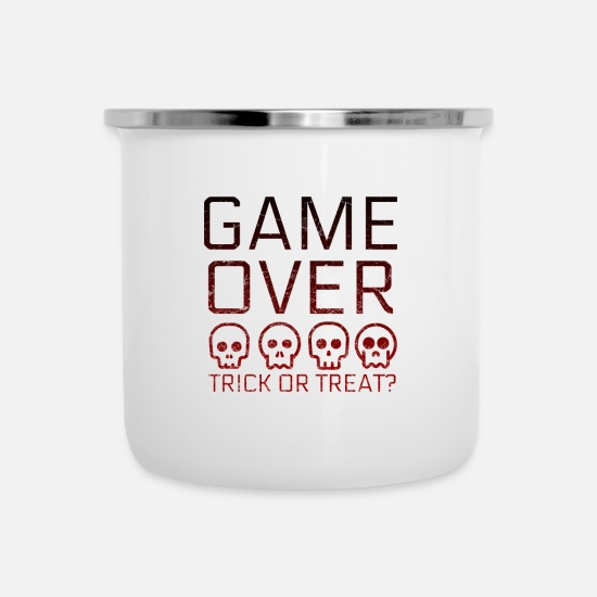 Gift Idea Mugs & Drinkware - Game Over Gaming Halloween - Enamel Mug white