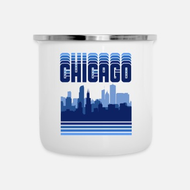 Chicago Regalo retro de Chicago Skyline Vintage Illinois ciudad natal - Taza esmaltada
