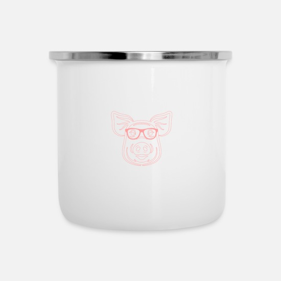Glasses Mugs & Drinkware - Pig, sow, piggy present dad - Enamel Mug white