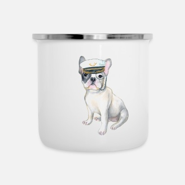 Hilarious Frenchie French Bulldog monocle Captains Hat Dogs In Clothes - Emaljmugg