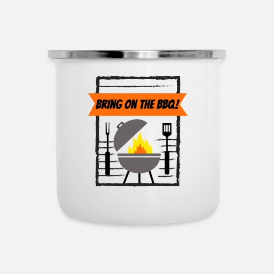 Family Reunion Mugs & Drinkware - Grillmaster Bring on the BBQ! Grilling - Enamel Mug white