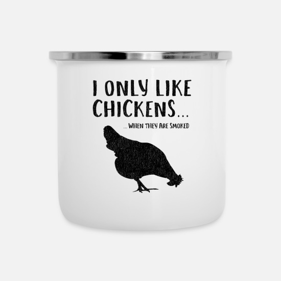 Bbq Mugs & Drinkware - Funny Grilled Smokes Chicken meat Jerking - Enamel Mug white