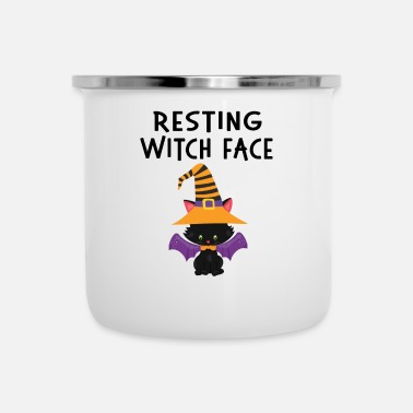 Pompoen Resting WItch Face Halloween Cat Design - Emaille mok