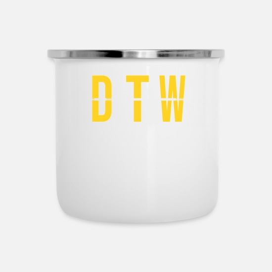Pilot Mugs & Drinkware - DTW - Detroit Airport - Michigan Airport Code - Enamel Mug white