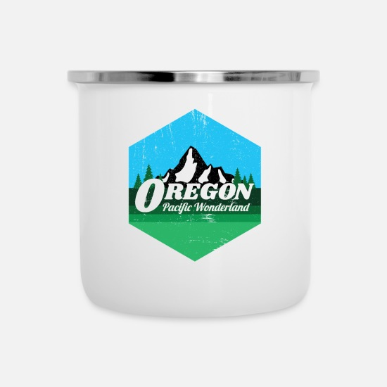 Camping Mugs & Drinkware - Distressed Oregon Pacific Wonderland Gift for - Enamel Mug white