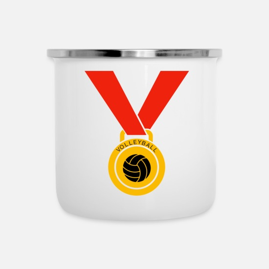 Birthday Mugs & Drinkware - Volleyball medal - Enamel Mug white