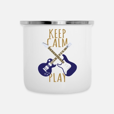 Electricity Keep Calm And Play - Bass And Guitar - Music Lover - Enamel Mug