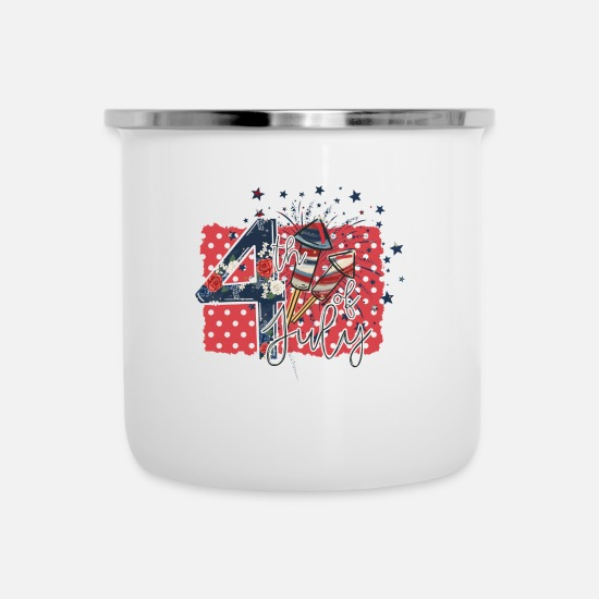 Festival Mugs & Drinkware - 4th of July USA America Flag Independence Gift - Enamel Mug white
