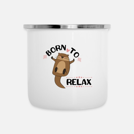 Funny Animals Mugs & Drinkware - Relax - Enamel Mug white