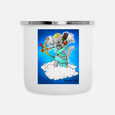 Cupid Valentinstag Smokey Grey Cupid Cat - Emaille-Tasse