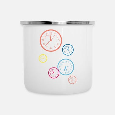Clock tick tack clock colorful - Emaille mok