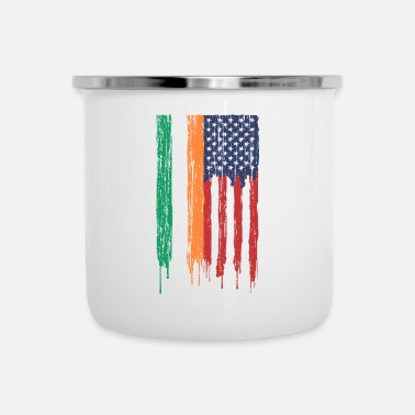4th Birthday Ireland America flag St Patrick's Day USA color - Enamel Mug