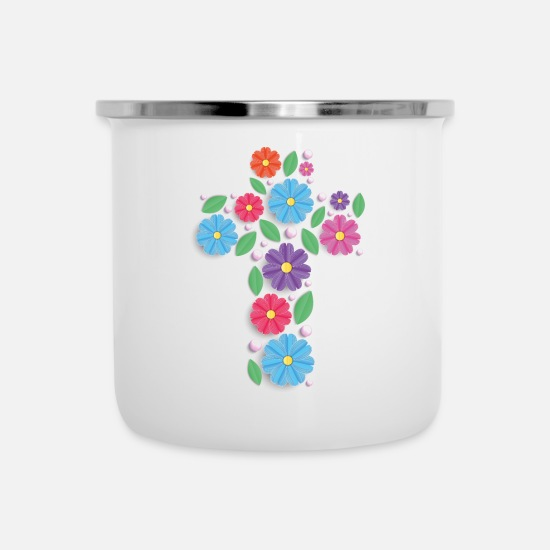 Bouquet Of Flowers Mugs & Drinkware - Flowers cross - Enamel Mug white