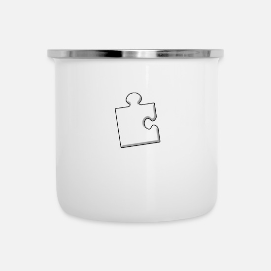 Birthday Mugs & Drinkware - puzzle piece - Enamel Mug white