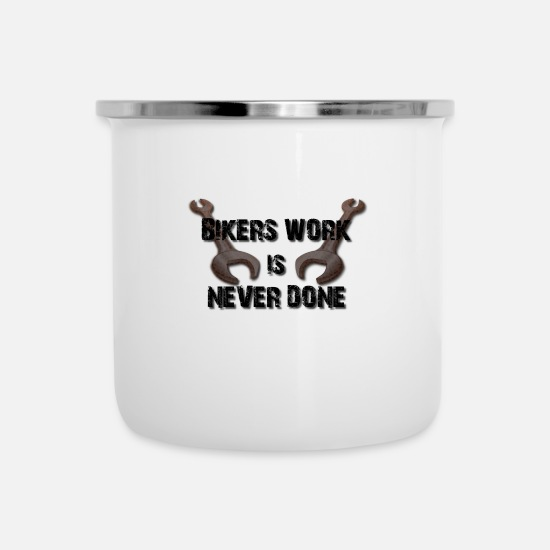 Love Mugs & Drinkware - Motorcycle rider work wrench tool - Enamel Mug white