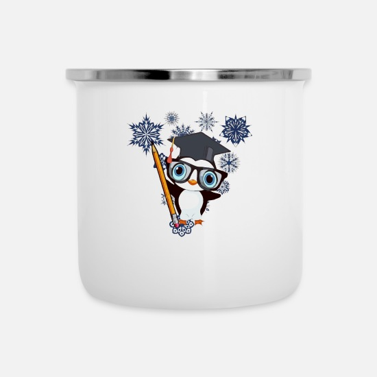 Gift Idea Mugs & Drinkware - Winter penguin - Enamel Mug white