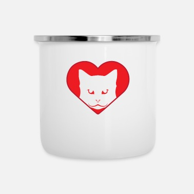 Cuore Cat Heart Heart Cat Hjärta Cat Kitty Meow - Emaljmugg