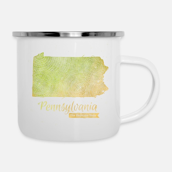 Usa Mugs & Drinkware - Pennsylvania - Enamel Mug white