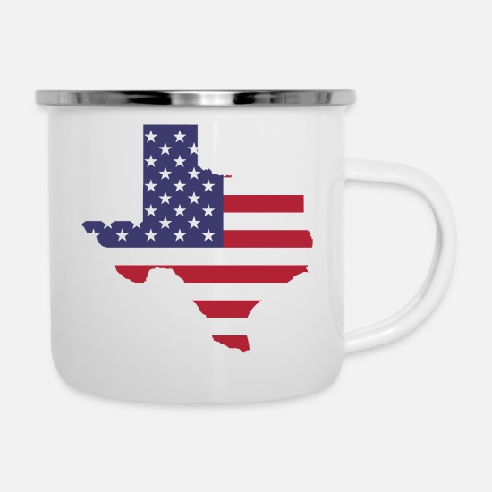 Usa Mugs & Drinkware - TEXAS USA Shirt - Enamel Mug white