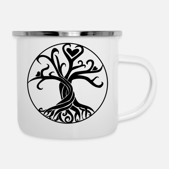 Mystical Mugs & Drinkware - Life Tree Gift Idea Black - Enamel Mug white