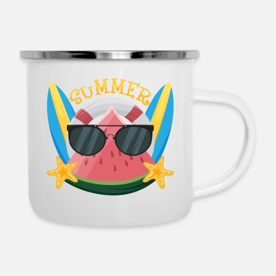 Birthday Mugs & Drinkware - Watermelon with Sunglasses - Enamel Mug white