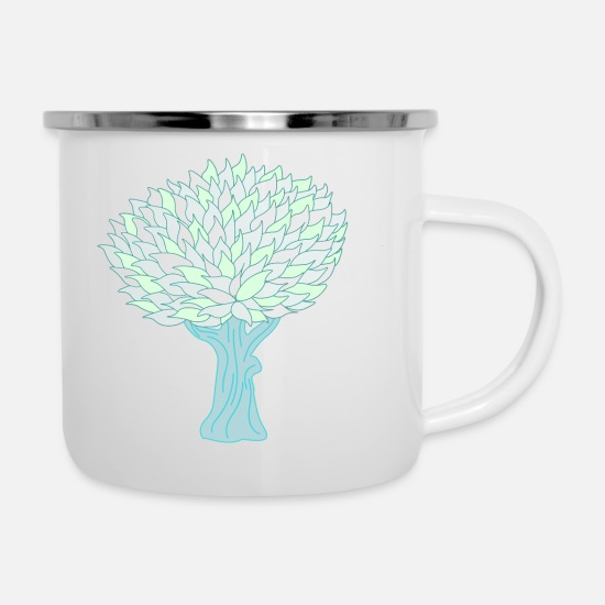 Pastel Mugs & Drinkware - Tree bright - Enamel Mug white