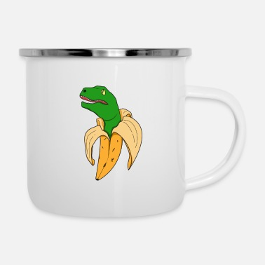 Banana T Rex Dino Peel surprise humor kid - Enamel Mug