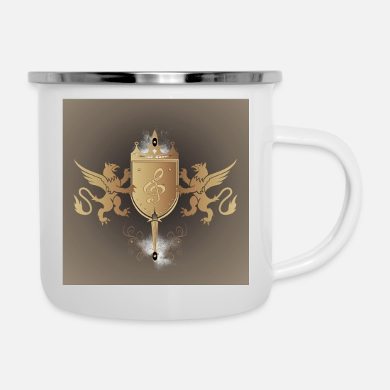 Song Mugs & Drinkware - Decorative key music in a shield - Enamel Mug white