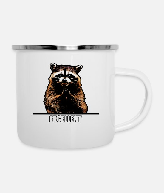 Excellent Mugs & Drinkware - Evil Raccoon - Enamel Mug white