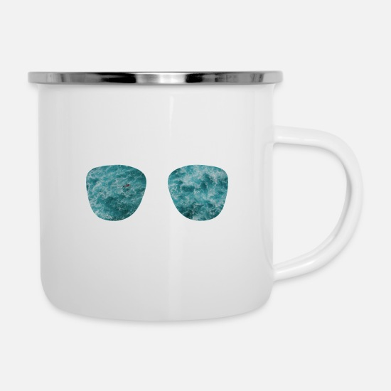 Travel Mugs & Drinkware - Holiday glasses - Enamel Mug white