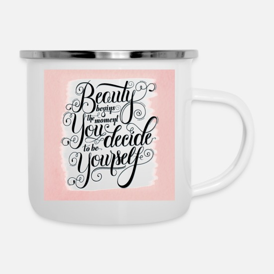 Typography Mugs & Drinkware - Beauty - Enamel Mug white